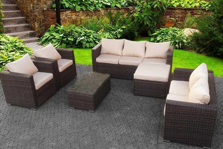Awe Inspiring 8 Seater Rattan Garden Furniture Set Table 3 Colours Home Remodeling Inspirations Genioncuboardxyz