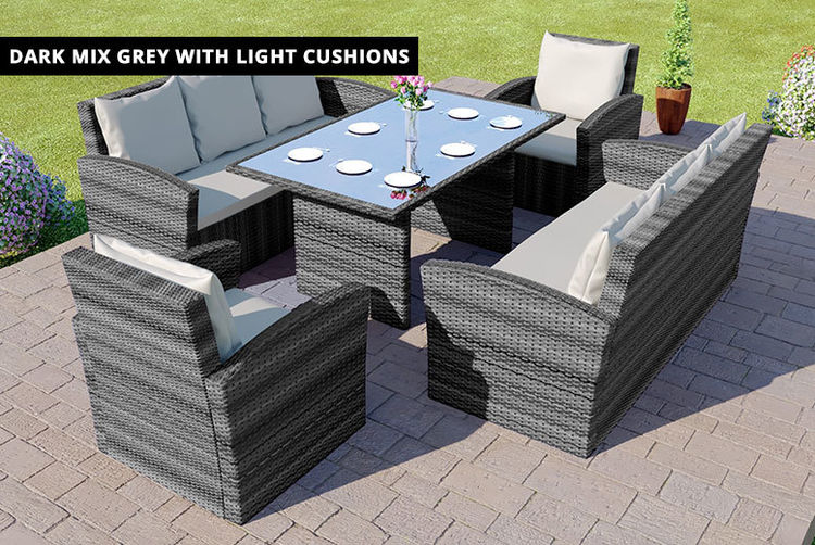 Ordinaire 8 Seater Highback Rattan Outdoor Furniture Set Dark Mix Grey ...