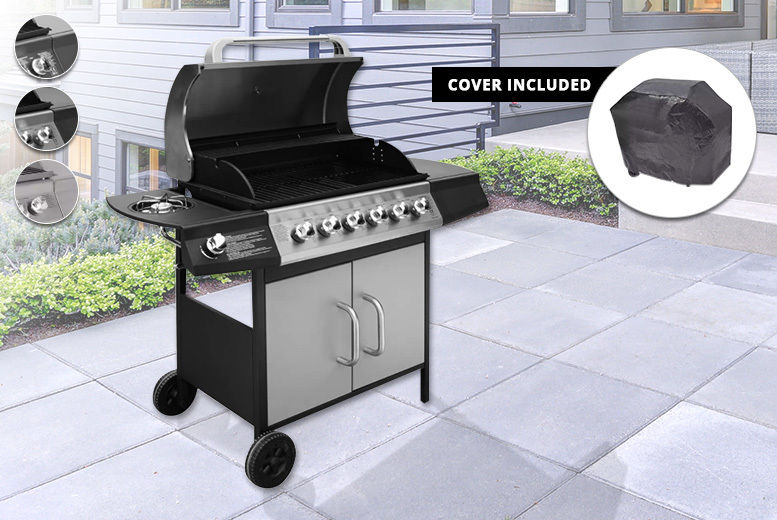 Gas Barbecue Grill with 6+1 Burners & BBQ Cover - 3 Colours! | Shop