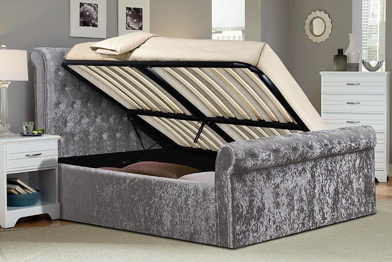 Enjoyable Crushed Velvet Sleigh Ottoman Storage Bed With Mattress Pdpeps Interior Chair Design Pdpepsorg