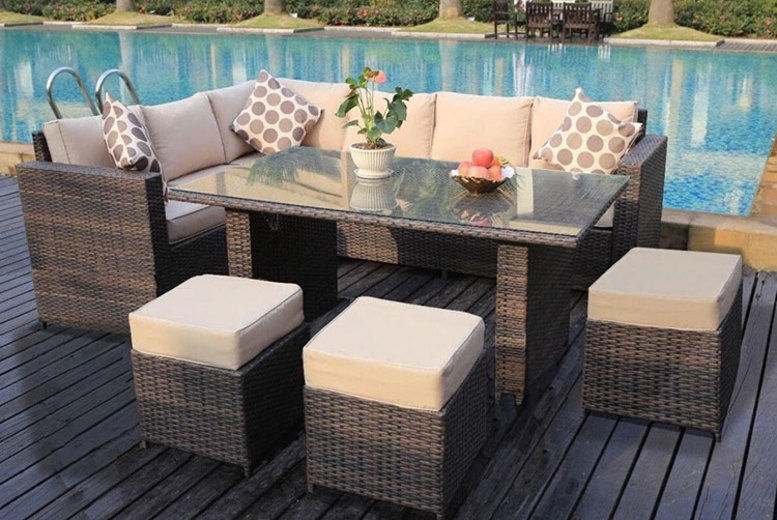 9-Seater L-Shaped Rattan Dining Set – 2 Colours! (from £449)