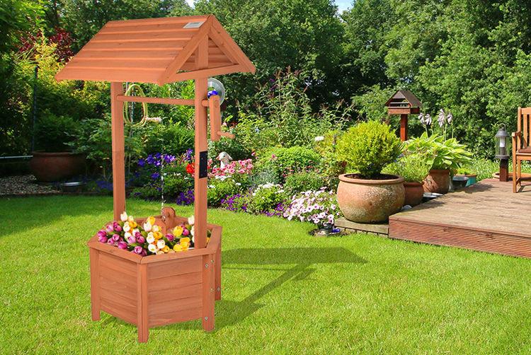 Wooden Wishing Well Planter Edinburgh Wowcher