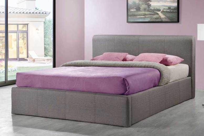 Grey Fabric Gas-lift Ottoman Storage Bed with Mattress Options! (from £119)