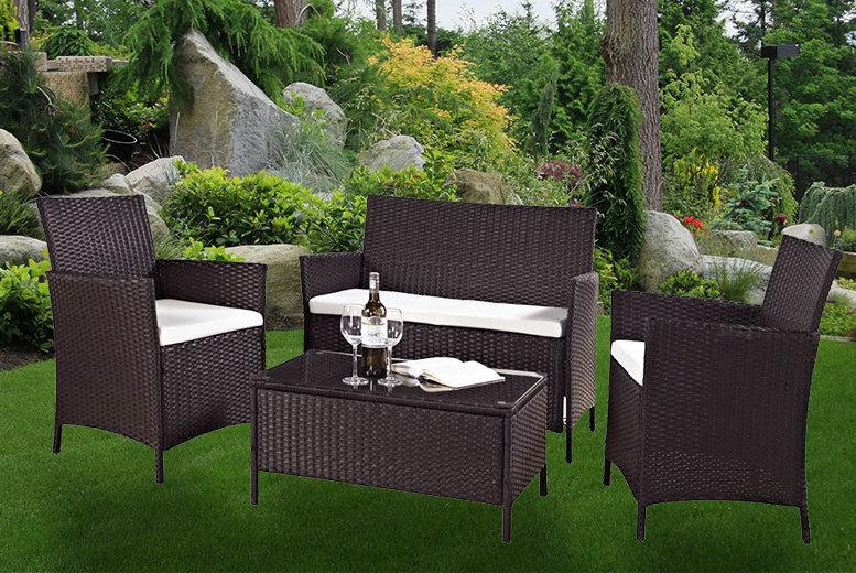 Wondrous 4Pc Outdoor Rattan Furniture Set Shop Wowcher Beutiful Home Inspiration Aditmahrainfo