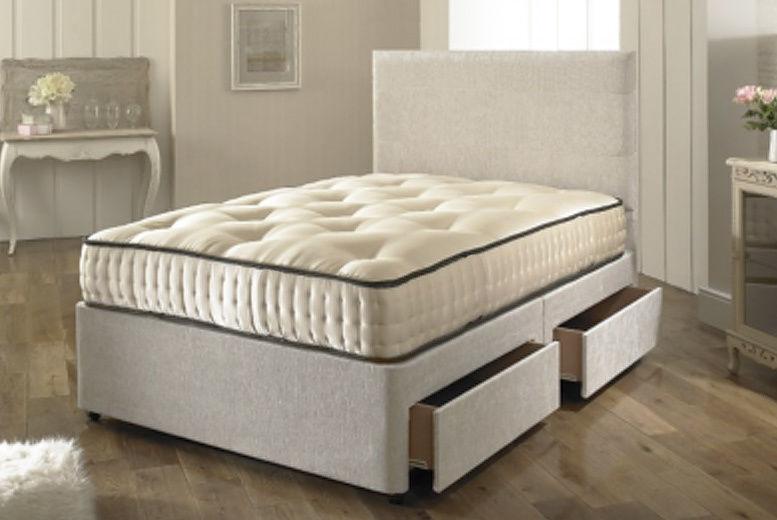 Dreyton Fabric Bed with Mattress, Headboard & Optional Drawers!