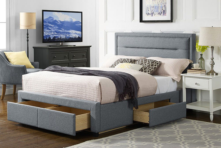 Groovy Grey 4 Drawer Fabric Bed Beds Mattresses Deals In Shop Andrewgaddart Wooden Chair Designs For Living Room Andrewgaddartcom