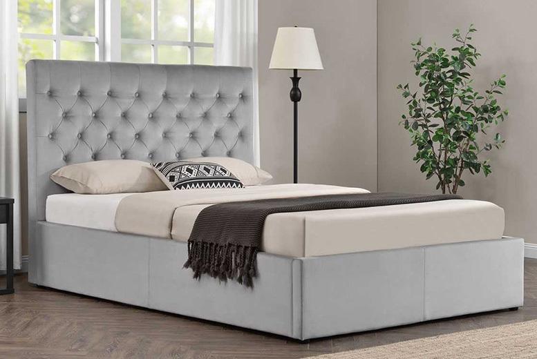 Grey Velvet Bed Home Deals In Shop Wowcher