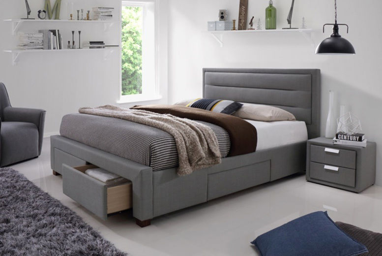 Miraculous Grey 4 Drawer Fabric Bed Shop Livingsocial Andrewgaddart Wooden Chair Designs For Living Room Andrewgaddartcom