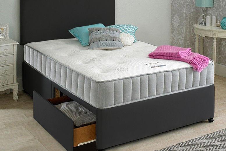 Oslo Fabric Divan Bed w/ Mattress, Headboard & Optional Drawers