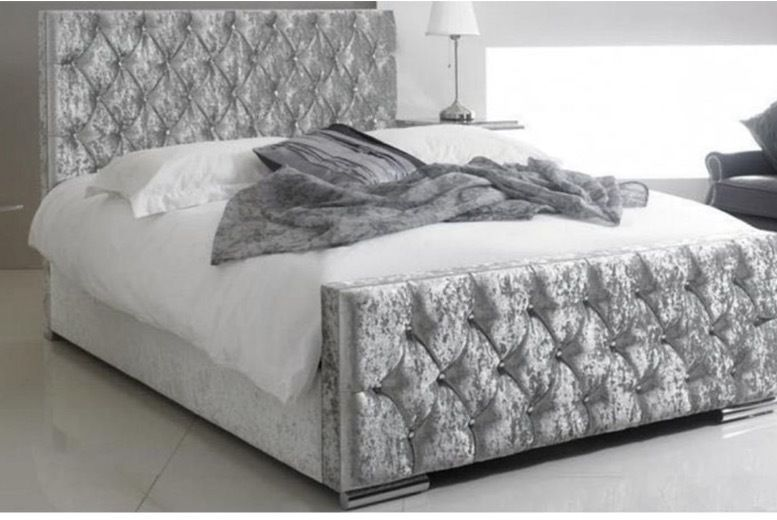 Luxury Silver Crushed Velvet Bed Frame - 3 Sizes!