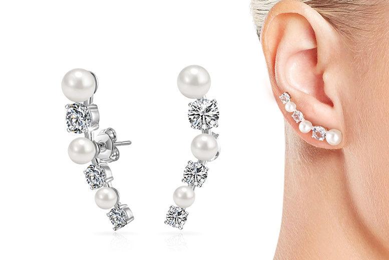 085c69446 White Pearl Crystals Earrings | Earrings deals in Shop | Wowcher
