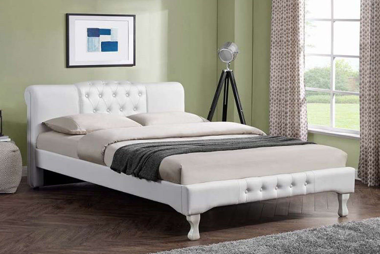 Snowdon Button Upholstery White Bed – 2 Sizes & Mattress Options! (from £199)