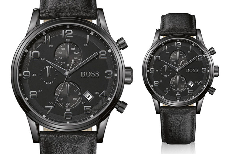 0c3904afd Mens Hugo Boss Aeroliner Chronograph Black Leather HB1512567 Watch