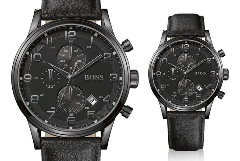 0c3904afd Mens Hugo Boss Aeroliner Chronograph Black Leather HB1512567 Watch