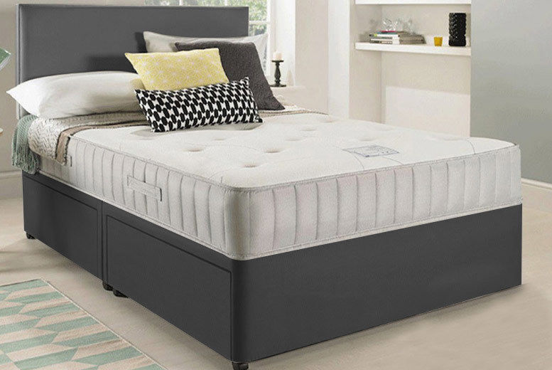 Luxury Grey Fabric Divan Bed with Headboard - Mattress & Storage Options!