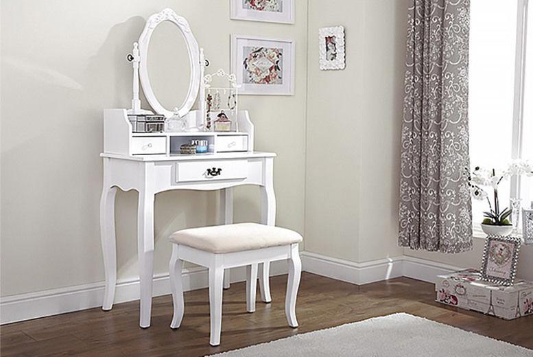 Lumberton Dressing Table w/ Stool & Mirror - 6 Colours!