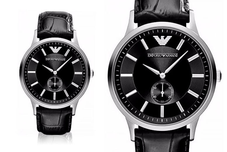 Men's Emporio Armani AR9100 Black Leather Watch