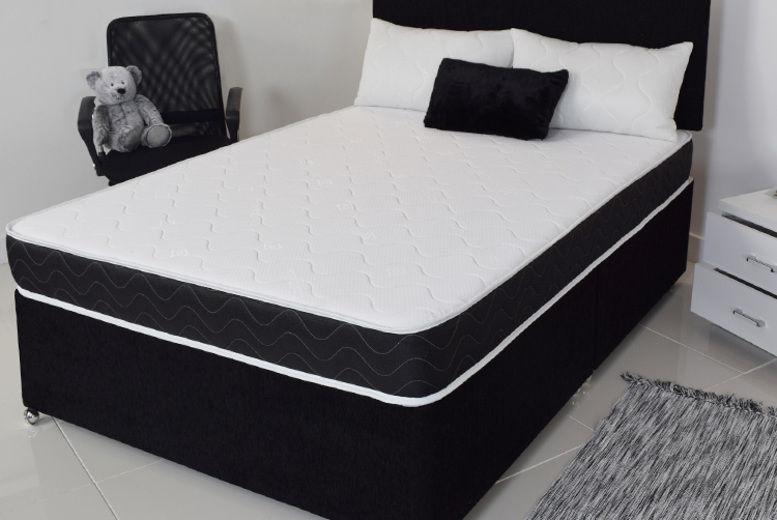 Black Quilted Memory Sprung Mattress - 5 Sizes!