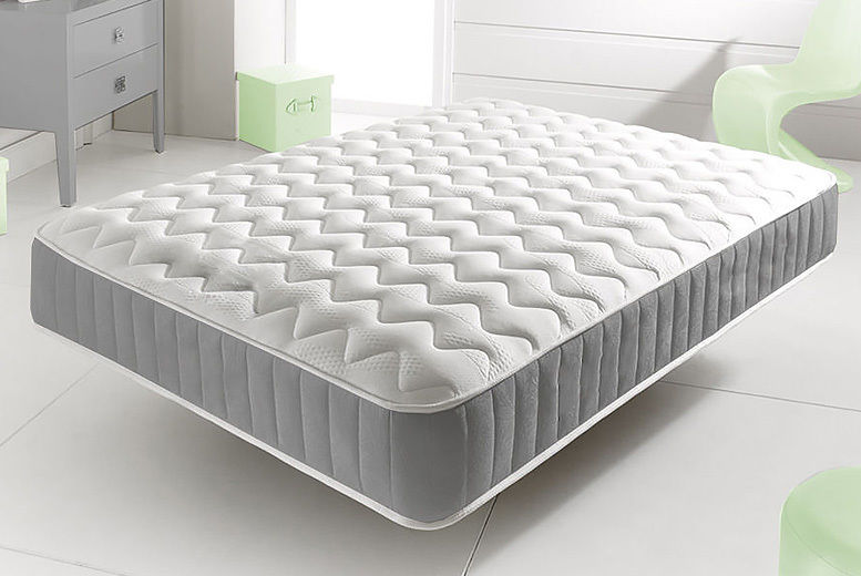 Grey Memory Foam-Topped Sprung Mattress