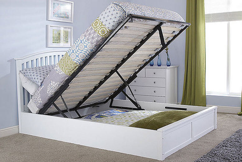 Designer Ottoman Storage Bed plus Optional Mattress - 2 Colours!