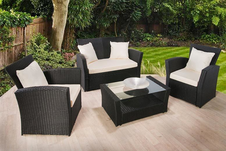 rattan garden dining sets uk patio furniture florence 4pc rattan garden sofa set furniture shopping deals wowcher