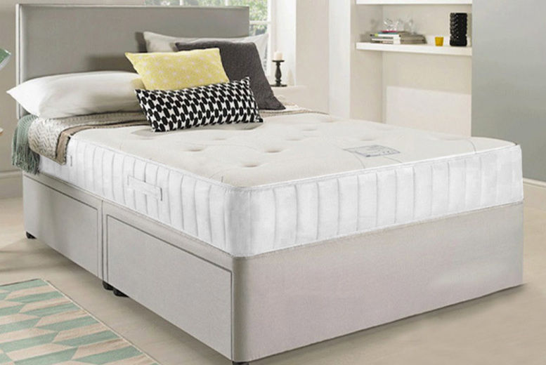 Grey Fabric Divan Bed with Headboard, Mattress & Optional Drawers!