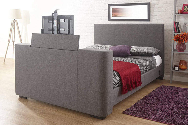 Newark Fabric TV Bed with an Optional Mattress – 2 Sizes!
