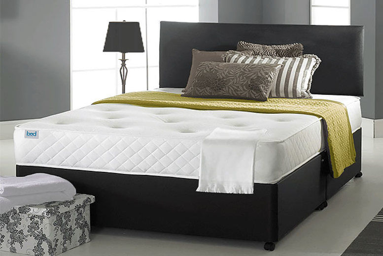 Faux Leather Ortho Divan Bed w/ Mattress & Drawer Options - 6 Sizes!