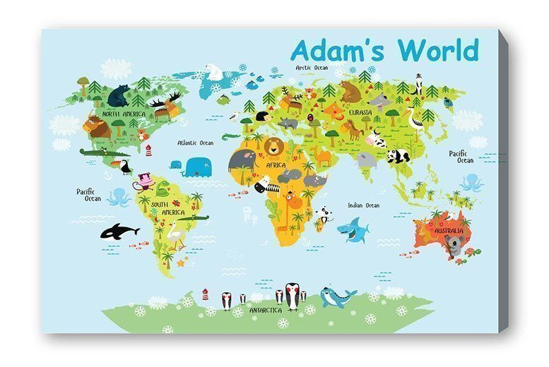 Personalised Kids World Map Canvas | London | Wowcher