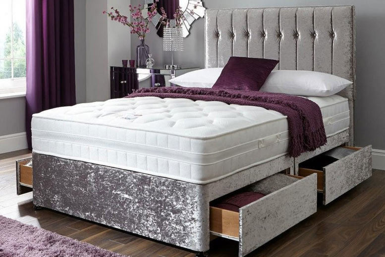 Crushed Velvet Divan Bed with Memory Mattress & Optional Drawers! (from £99)
